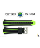 Citizen Eco-Drive BN0090-01E Black / Green Rubber Watch Band S080100 59-... - $62.05
