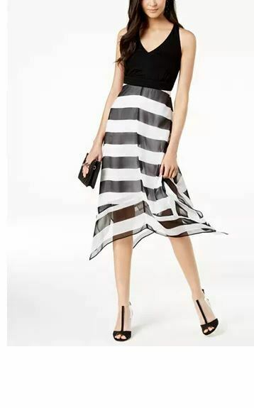 Primary image for INC Women's Petite Black Striped Handkerchief Hem Dress Size PL NEW WITHOUT TAG