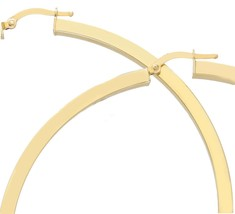 18K YELLOW GOLD CIRCLE EARRINGS DIAMETER 70 MM WITH SQUARE TUBE   MADE IN ITALY image 2