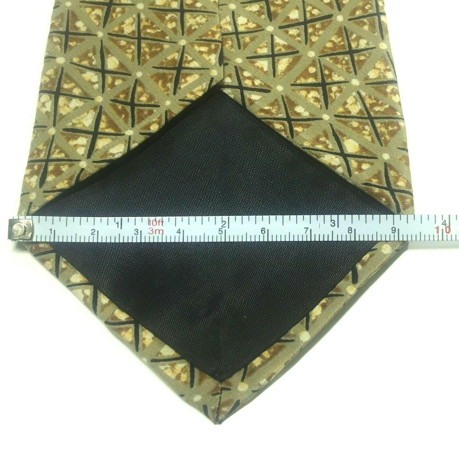 "Structure Men's Tie, 3.75"" X 58"" Necktie, 100% Silk, Brown Geometric Print image 6"