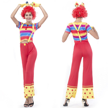 Women Circus Clown Halloween Costume Striped Suspenders Trousers - $35.14
