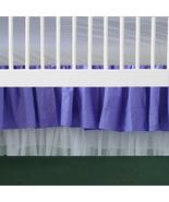 2 Tiered White Tulle Edge Purple Cotton Ruffled Crib Skirt / Mini Crib S... - $39.99+