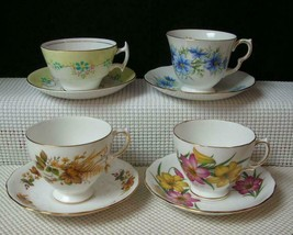 Vint Lot of 4 BONE CHINA TEA CUPS & SAUCERS by QUEEN ANNE PHOENIX ROYAL ... - $28.85