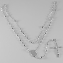 18K WHITE GOLD ROSARY NECKLACE MIRACULOUS MARY MEDAL & JESUS CROSS ITALY MADE image 1
