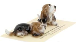Hagen Renaker Dog Basset Hound Pup Sitting and Pup Lying Ceramic Figurine Set