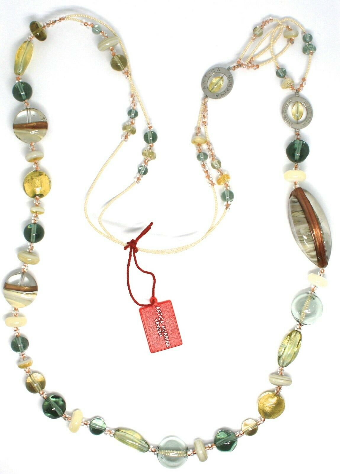 Necklace Antica Murrina Venezia, Glass Murano, Long 100 cm, Beige CO696A02