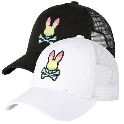Psycho Bunny Men's Snapback Mesh Embroidered LGBT Rainbow Logo Baseball Cap Hat