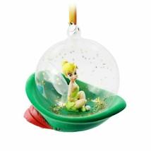 New Disney GLASS GLOBE TINKER BELL Sketchbook Christmas Ornament 2020 - $29.69