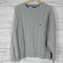 Tommy Hilfiger Pullover Herren Groß L Grau Grau Zopfmuster Rundhals - $23.18