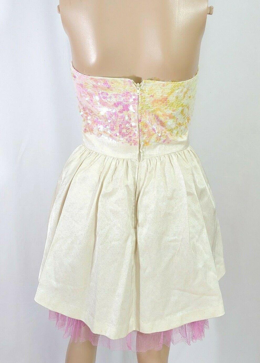 Betsey Johnson White Iridescent Pink Sequin Tulle Corset Tea Party Dress SZ 2