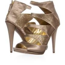 Nine West Amability Peep Toe Cut Out Strap Sandals 151, Light Gold, 8.5 US - $29.75