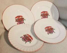 Lot 4 Vintage Enesco Plates Red Orange Flower Cart Japan Wagon Floral Tulip - $17.45