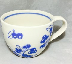 Starbucks coffee 2007 White & blue berry design 13 Oz. porcelain cappuccino cup - $9.85