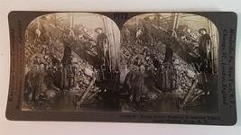 antique STEREOVIEW STEAM SHOVEL WORKING IN RAILWAY TUNNEL UNDER HUDSON ... - $42.50