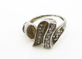 925 Sterling Silver - Vintage Multi-Shape White Topaz Band Ring Sz 7 - R13530 - $25.23