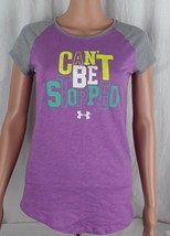Under armour youth girls top short sleeve cotton purple size YLG/JG/G - $13.01