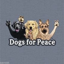 Gildan T-shirt Dog S 2XL Dogs For Peace Blue Cotton NWT Short Sleeve New - $20.20