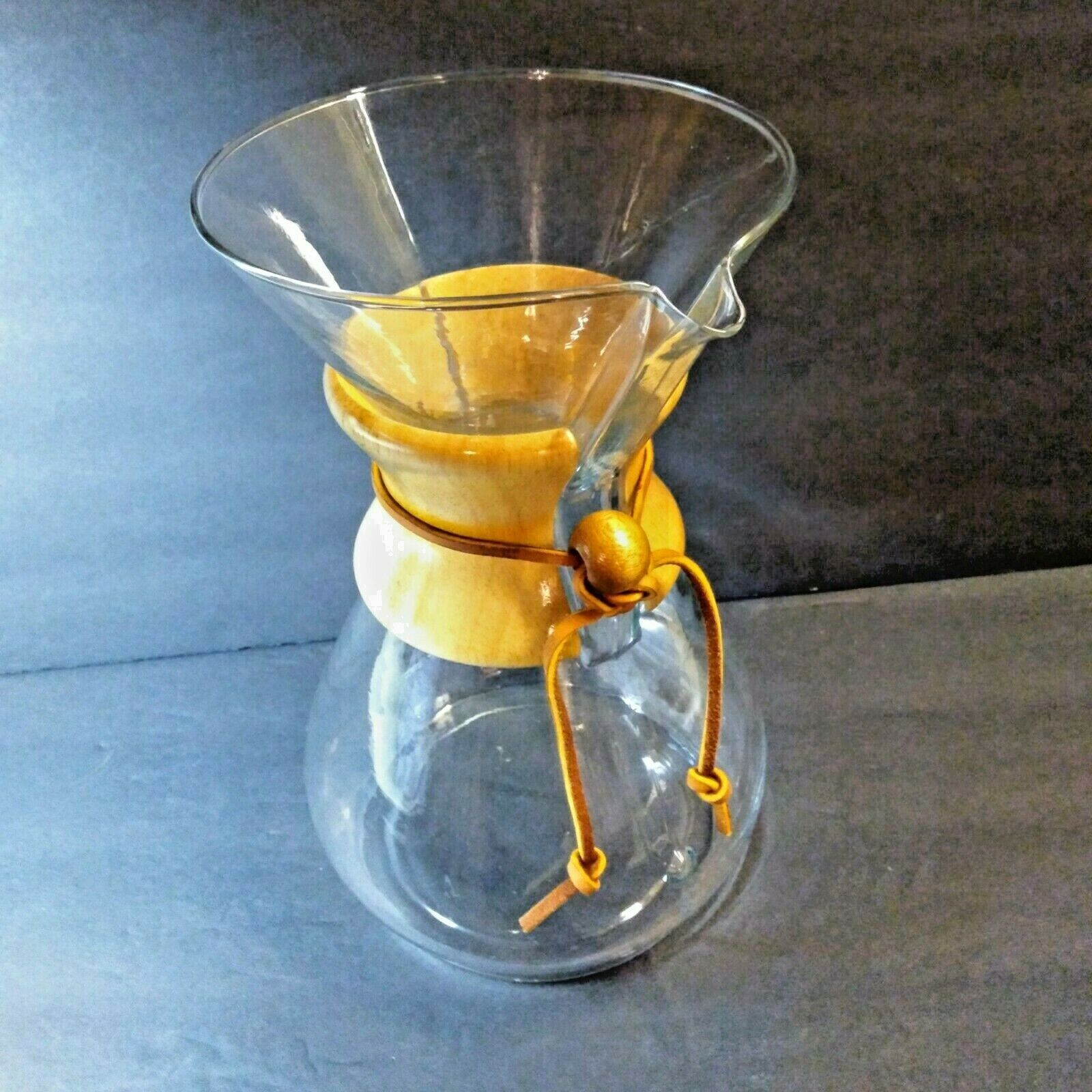 "Primary image for Chemex Clear Glass Pour Over Coffee Pot Maker 9"" MCM Carafe Wood Sleeve"