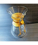 "Chemex Clear Glass Pour Over Coffee Pot Maker 9"" MCM Carafe Wood Sleeve  - $48.51"