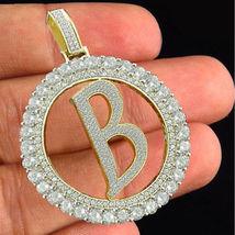 Initial Alphabet 'B' Letter Pendant 2CT Diamond Yellow Gold Plated 925 S... - £116.69 GBP