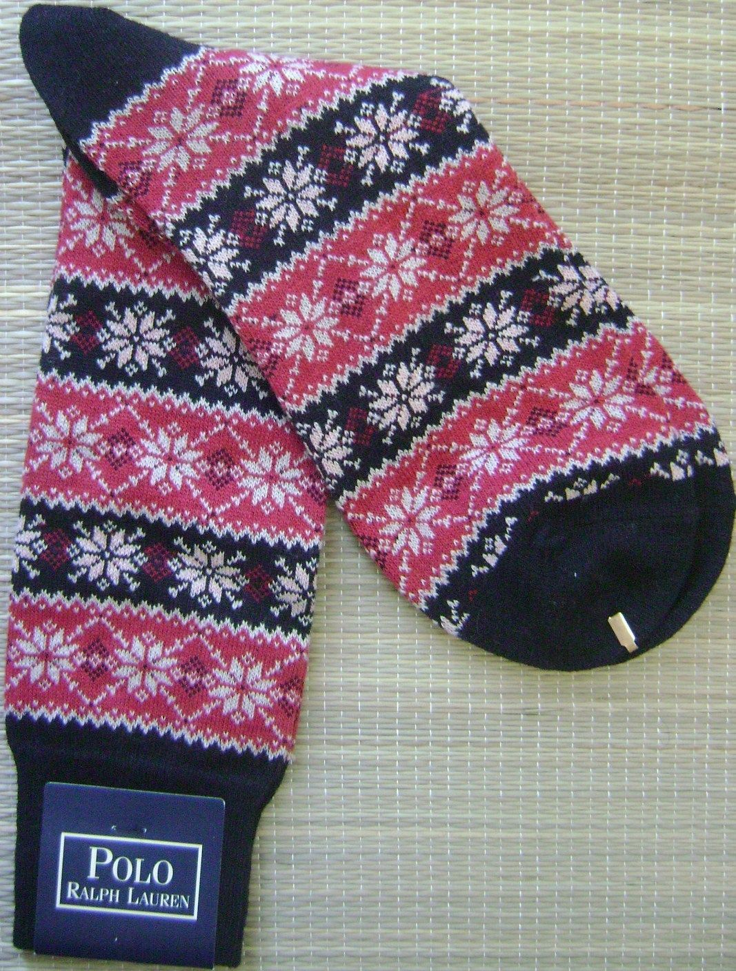 Primary image for POLO RALPH LAUREN BLUE LABEL FAIR ISLE MEN'S SOCKS WOOL BLEND MADE IN JAPAN NEW