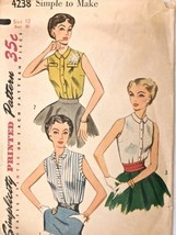 Vintage 1950s Sewing Pattern Simplicity #4238 Blouse Simple Size 12 Bust 30 - $19.28