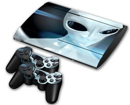 Alien design decal for ps3 slim 3000 console & controllers skin - $15.00