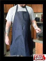 1 NEW AMERITEX NAVY BLUE DENIM SHOP BIB APRON WITH 1 PEN AND HAND POCKET - $6.39