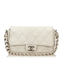 Pre-loved Chanel White Ivory Others Leather Medium Wild Stitch Flap Bag France - $1,473.09