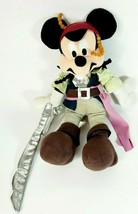 Disney Pirates Of The Caribbean Captain Jack Sparrow Mickey Mouse plush  - $15.47