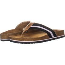 Tommy Hilfiger Giulio Flat Slide Sandals 354, Black/White, 9 US - $26.87