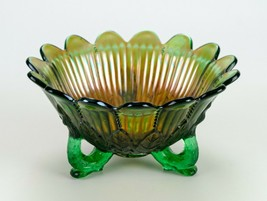 """Northwood Leaf and Beads Green Carnival Glass Bowl, Antique Rayed Interior 7"""" - $39.20"""