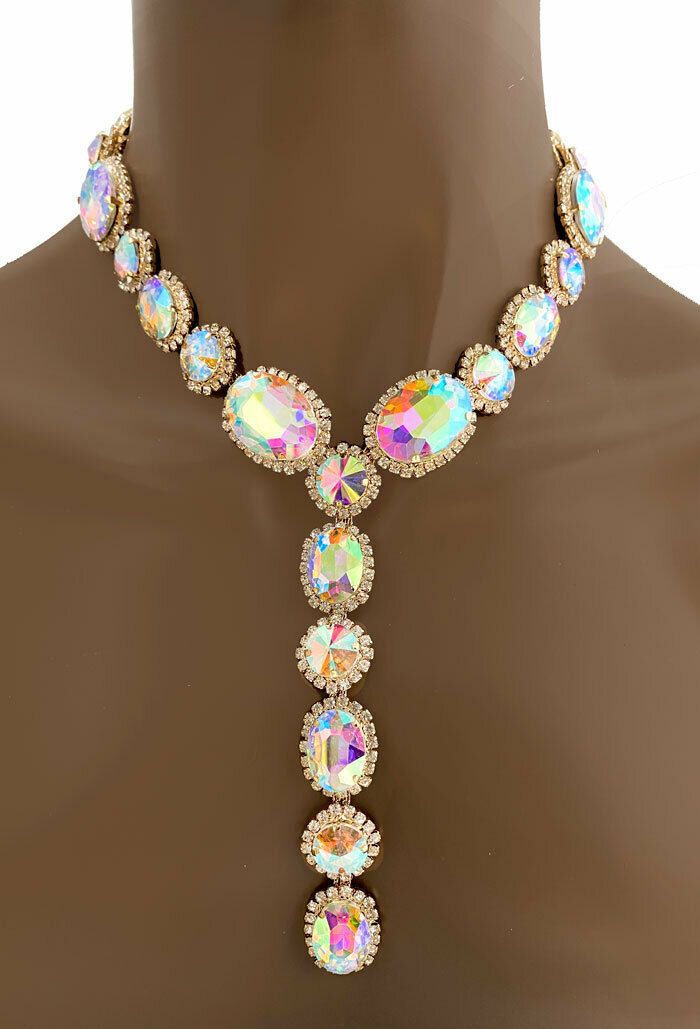 Primary image for Statement Evening Y Necklace Earring Iridescent Aurora Borealis Crystal Pageant