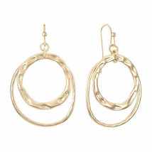 Liz Claiborne Women's Round Drop Earrings Hammered Gold Tone New  - $17.81