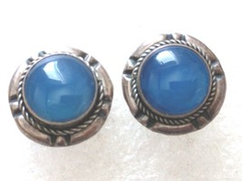 VINTAGE STERLING SILVER BLUE CHALCEDONY POST EARRINGS 925 - $21.77