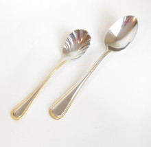 Wallace 18/8 Stainless Steel Soup Sugar Shell Spoon Regal Pearl Gold Bead Accent - $9.95