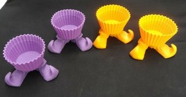 LOT OF 4 WACK WITCH SILLY-FEET SILICONE CUPCAKE BAKING CUPS ORANGE PURPL... - $9.49