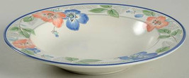 "Mikasa Intaglio 9 3/8"" Large Rim Soup Bowl ""Country Poppies"" Design CAC42  Malay - $14.99"