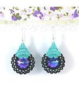 Crystal Swarovski Art Deco Avantgarde Earrings Heliotrope Flower - $18.00