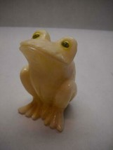 VINTAGE Alabaster FIGURINE Italian FROG Yellow EYES Sitting UP Carved DE... - $34.27