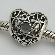 Authentic Pandora June Signature Heart Sterling Gray Moonstone Charm 791784MSG - $49.17