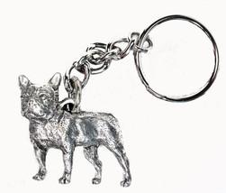 Frenchie Dog Keychain Keyring Harris Pewter Made USA Key Chain Ring - $9.48