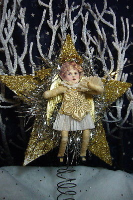 Vintage Inspired Spun Cotton Santa Tree Topper no.121