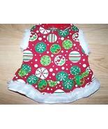 "Size XS X Small 9-11"" Red White Green Holiday Print Dog Dress Pet Costum... - $12.00"