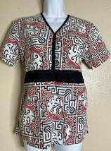 Med + Wear Womens Size XS Asian Pattern Scrubs Tie Back - £6.99 GBP