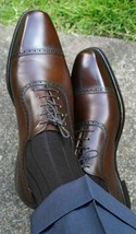 Handmade Men's Brown Leather Dress/Formal Lace Up Oxford Shoes image 4