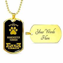 Dog Lover Gift Manchester Terrier Dad Dog Necklace Engraved 18k Gold Dog... - $60.34