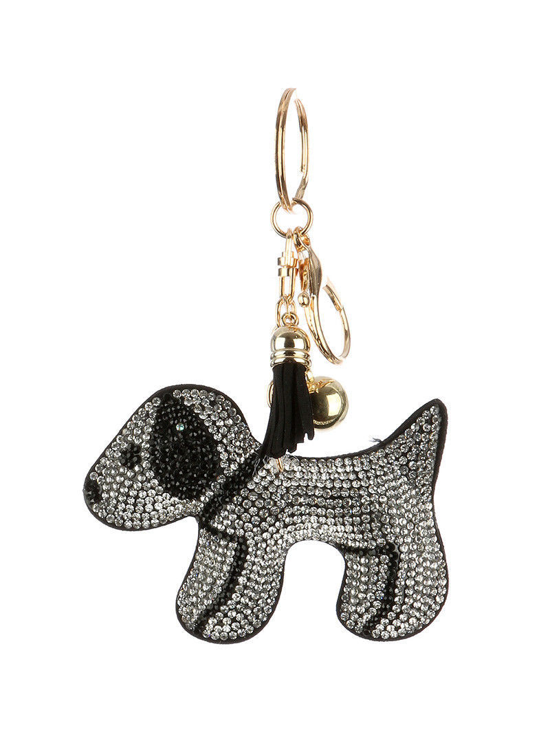 Tassel Bling Pave Crystal Dog Pillow Key Chain Handbag Charm Key Fob