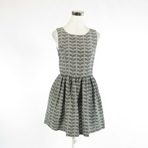 Black white gray chevron linen blend JOIE sleeveless A-line dress M - $79.99