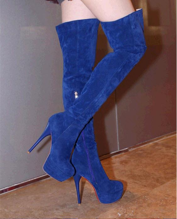 PB171 European style knight boots, stiletto, 13.6 cm heels, size 4-10.5, blue